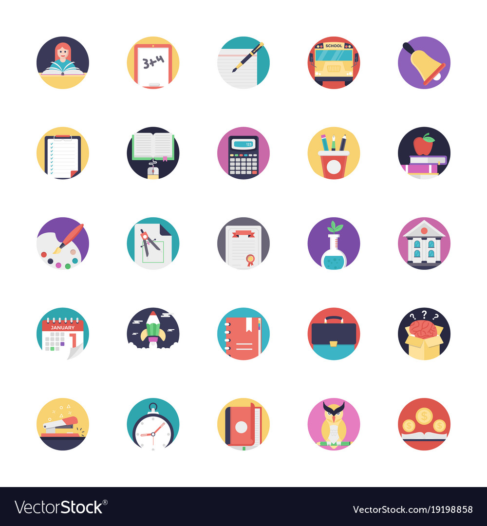 Flat icons pack of education.