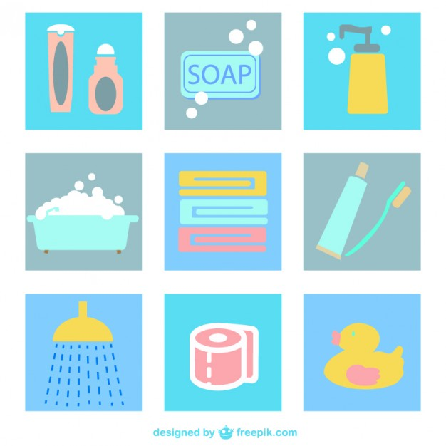 Bathroom Flat Icons Pack Free Vector.