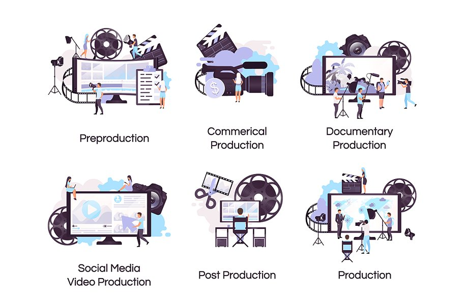 Video production flat icons set.