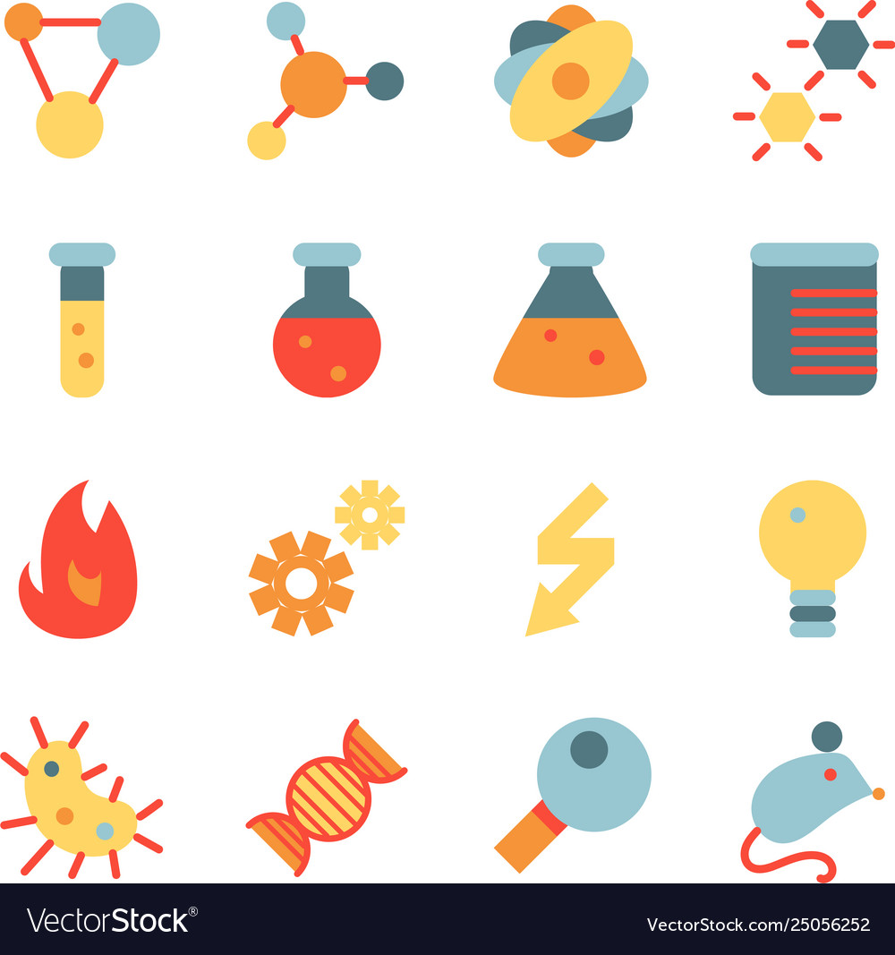 Science research flat icon set.