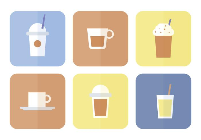 Coffee Flat Icon Set.