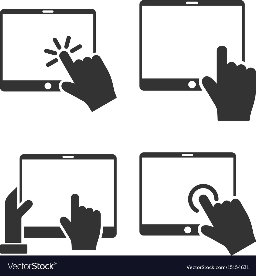Mobile tab and hand pointer flat icon set.