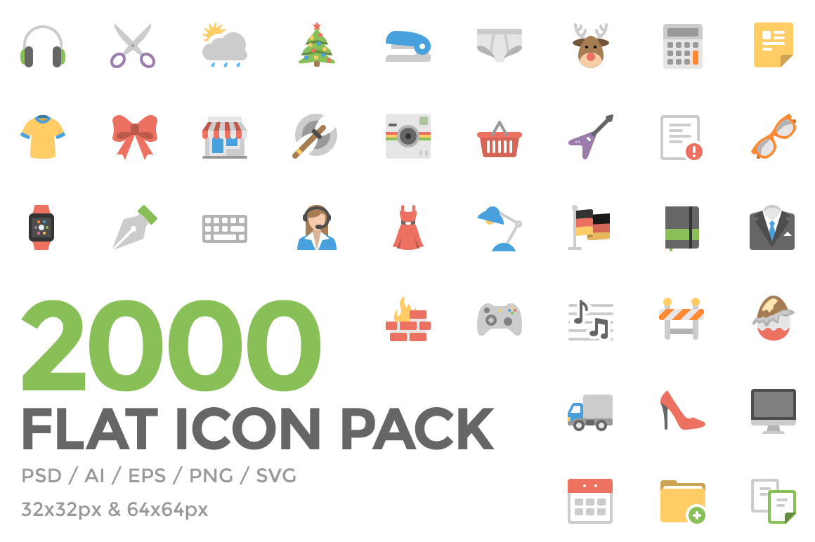 Freebie: Flat Icon Pack (AI, SVG, EPS, PSD, PNG).