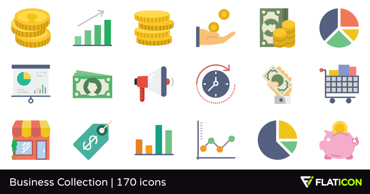 Business Collection 170 free icons (SVG, EPS, PSD, PNG files).