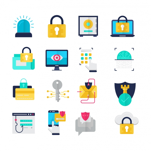 Security Flat Icons Set, Alarm, Lightning, Cloud Security PNG and.