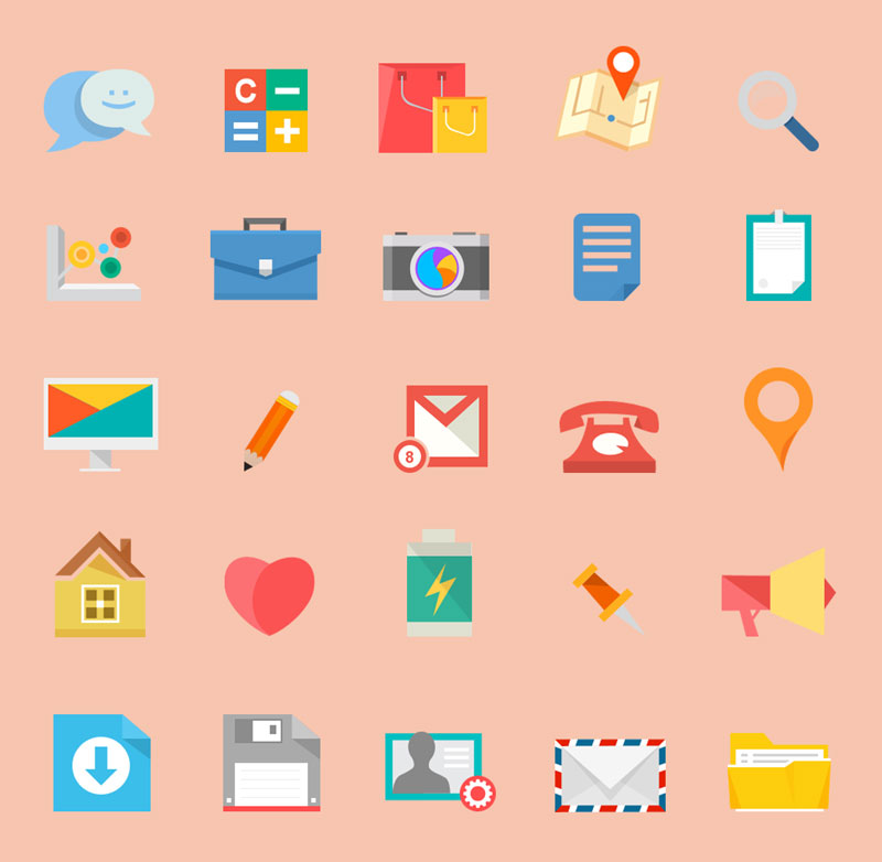 10 awesome free flat icons packs.