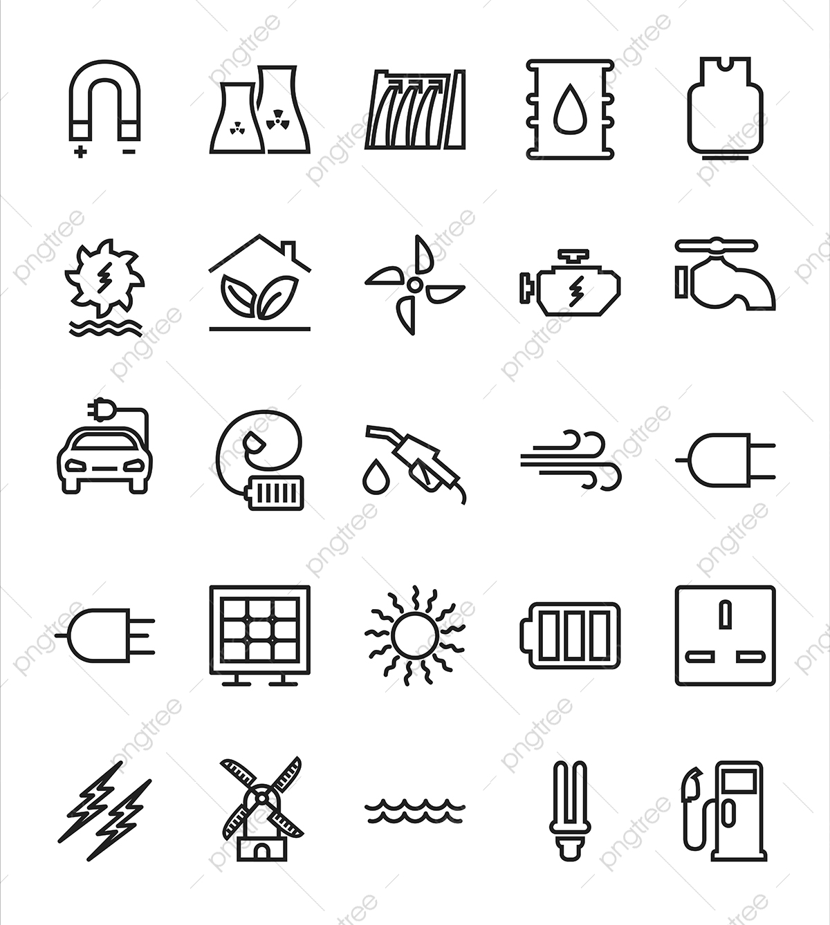Energy Flat Icon Set, Flat, Icon, Energy PNG and Vector with.