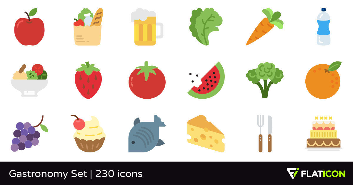 Gastronomy Set 230 free icons (SVG, EPS, PSD, PNG files).