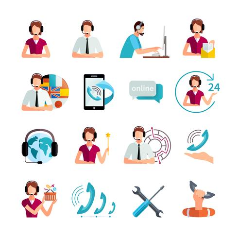 Customer Support Service Flat Icons Set.