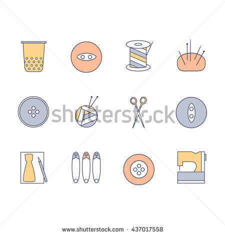 Sewing And Knitting Icons Set. Skein Of Yarn And Knitting Needles.