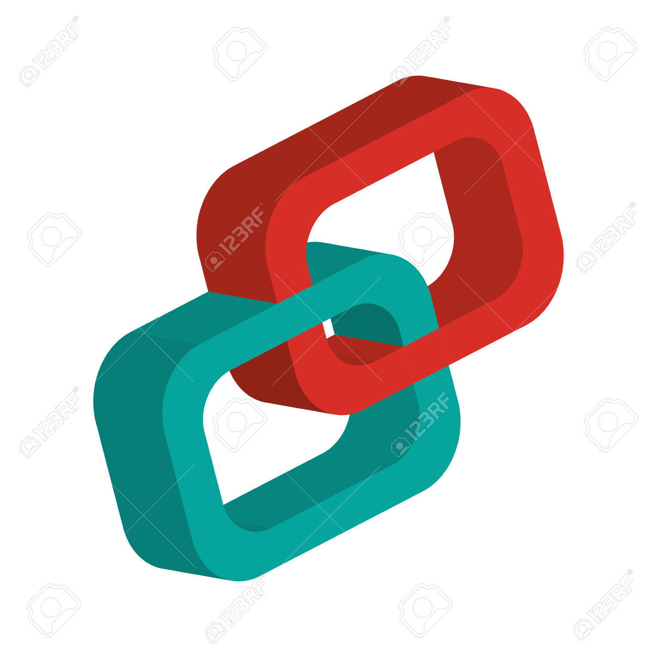 Flat Design 3d Link Chain Icon Vector Illustration Royalty Free.