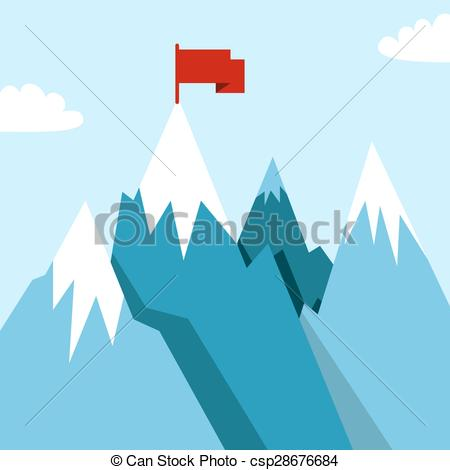 Vector of Mountain landscape in flat.