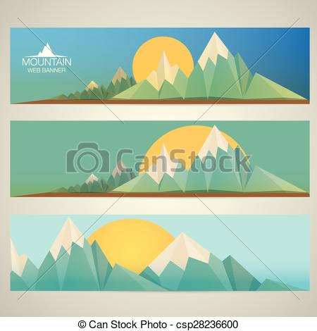 Vector Clipart of Low poly Mountains web banners.