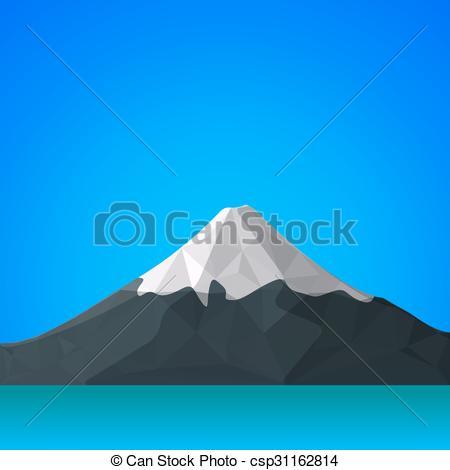 Vector Clip Art of vector flat abstract polygonal Fuji mountain.