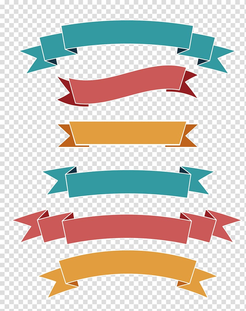 Multicolored ribbons illustration, Ribbon Label Web banner.