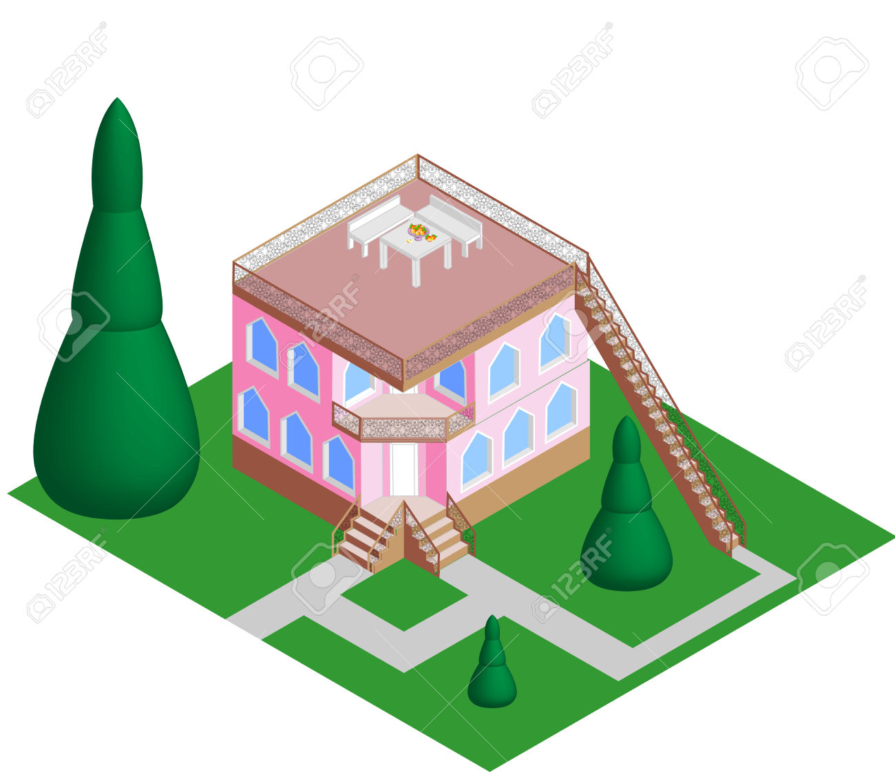 House With A Flat Roof Vector Royalty Free Cliparts, Vectors, And.