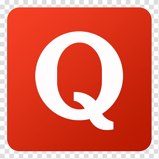 Flat Gradient Social Media Icons, Quora, red and white Q.