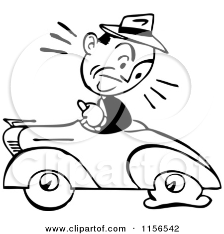Clipart of a Black and White Retro Man and Car with a Flat Tire.