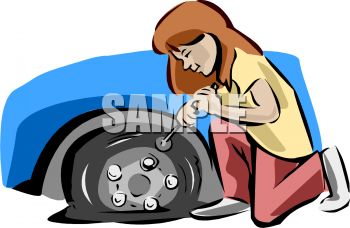Girl Letting the Air Out of Or Changing a Flat Tire.