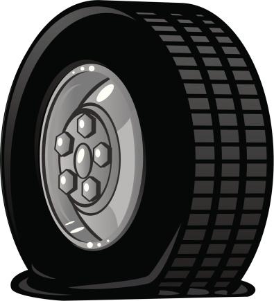 Flat Tire Clip Art, Vector Images & Illustrations.