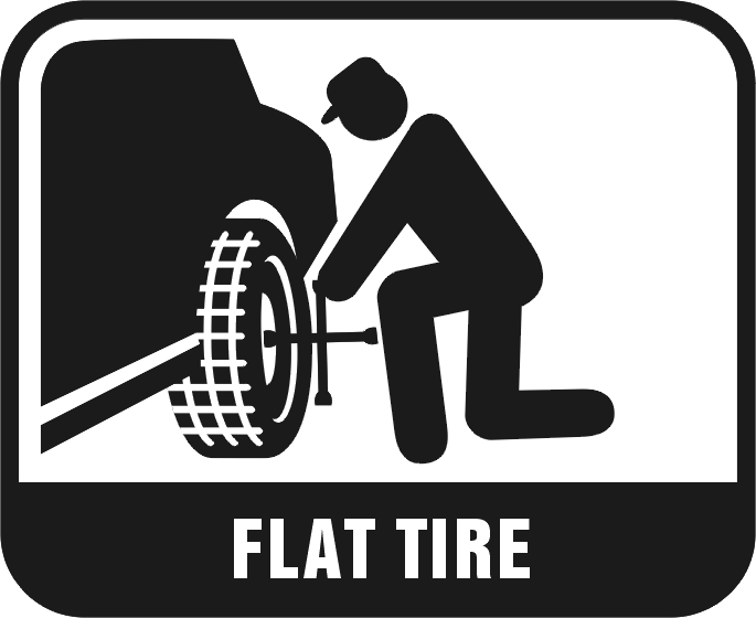 Car With Flat Tire Clipart.