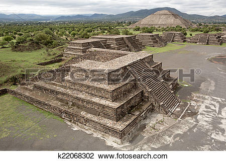 Stock Photo of flat top pyramids on the Avenue of the Dead.