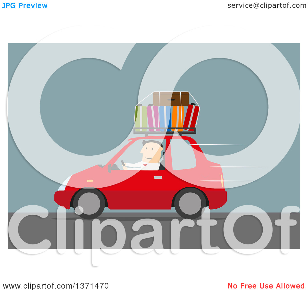 Clipart of a Flat Design White Business Man Driving a Car with.