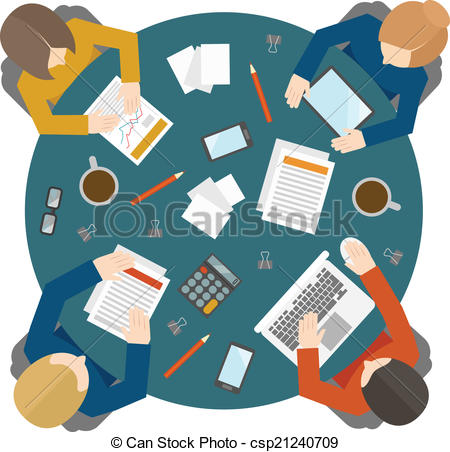 Vector Clipart of Business meeting in top view.