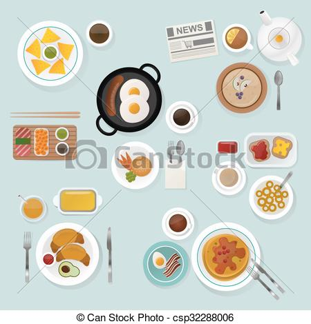 Vector Clipart of Breakfast flat top view set icons silhouette.