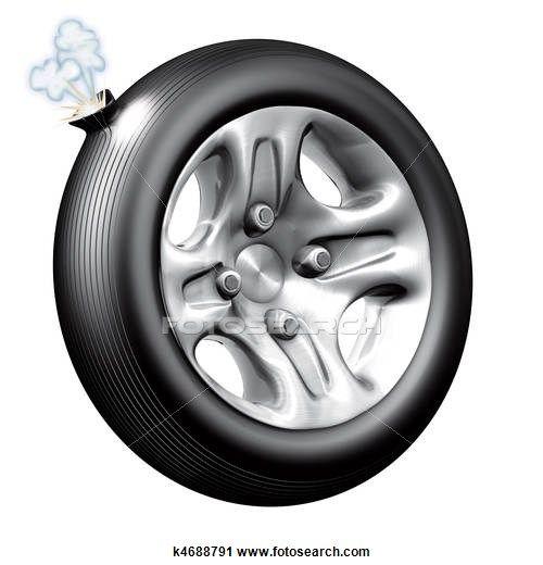 Flat tire Clip Art.