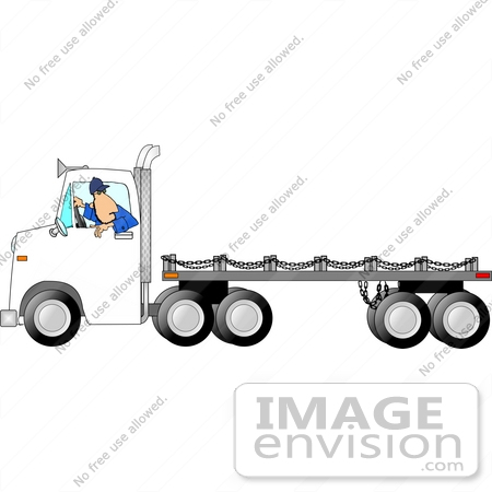 Man Driving a White Flatbed Truck in Reverse Clipart.