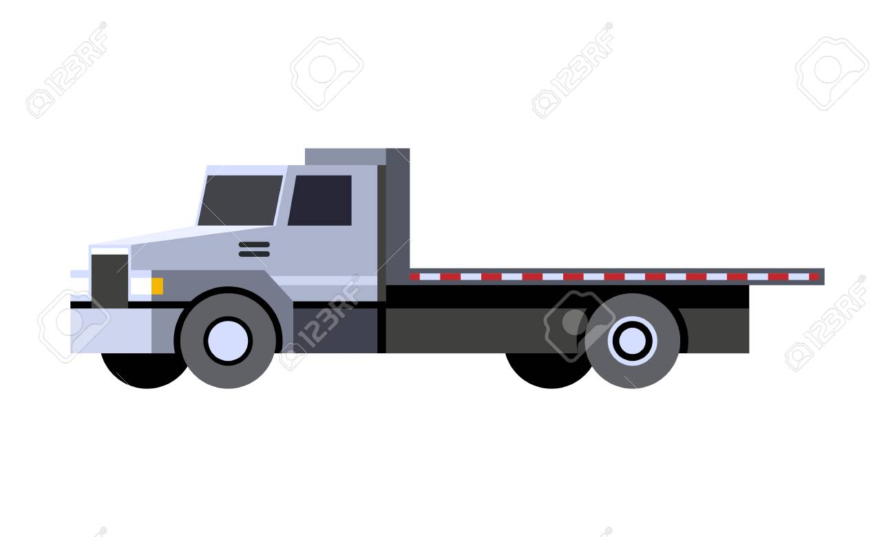 Minimalistic icon flatbed truck front side view. Utility service...