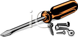 Flat head screwdriver clipart.