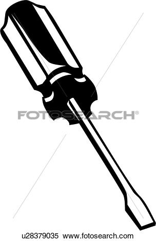 Clipart of , flathead, screwdriver, tool, u28379035.