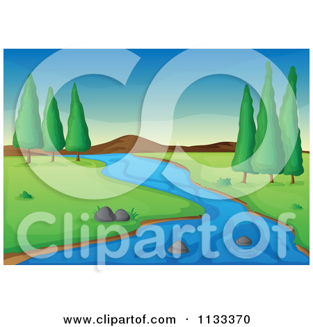 Cartoon Of A Stream And Trees In A Flat Land.