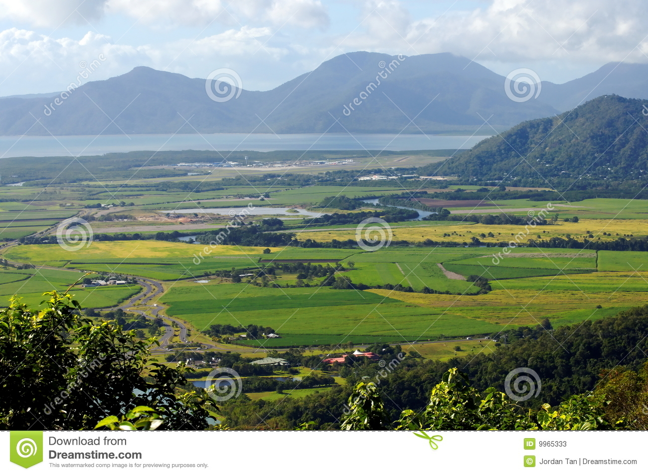 Aerial View Of Mountain And Flat Land Stock Photos.