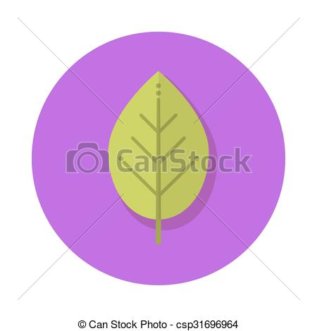 Clip Art Vector of Flat leaf icon.