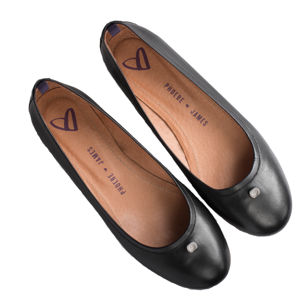Download Free png Black Round Leather Flats — Phoebe James.