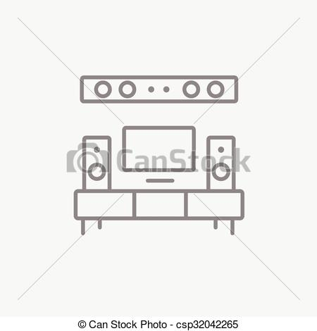 Clip Art Vector of TV flat screen and home theater line icon..