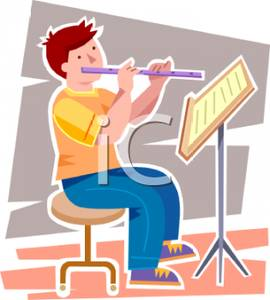 Boy Sitting on a Stool Reading Sheet Music and Playing the Flute.