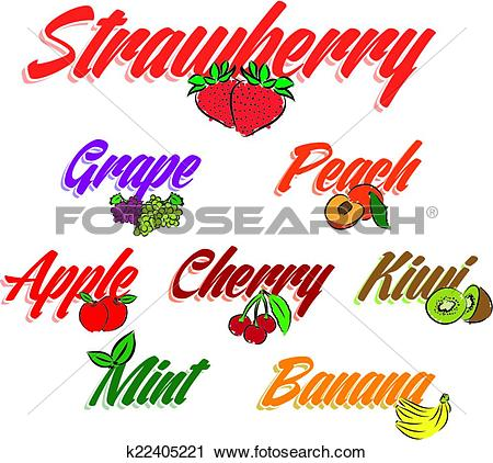 Clipart of lettering flavors fruits text illus k22405221.