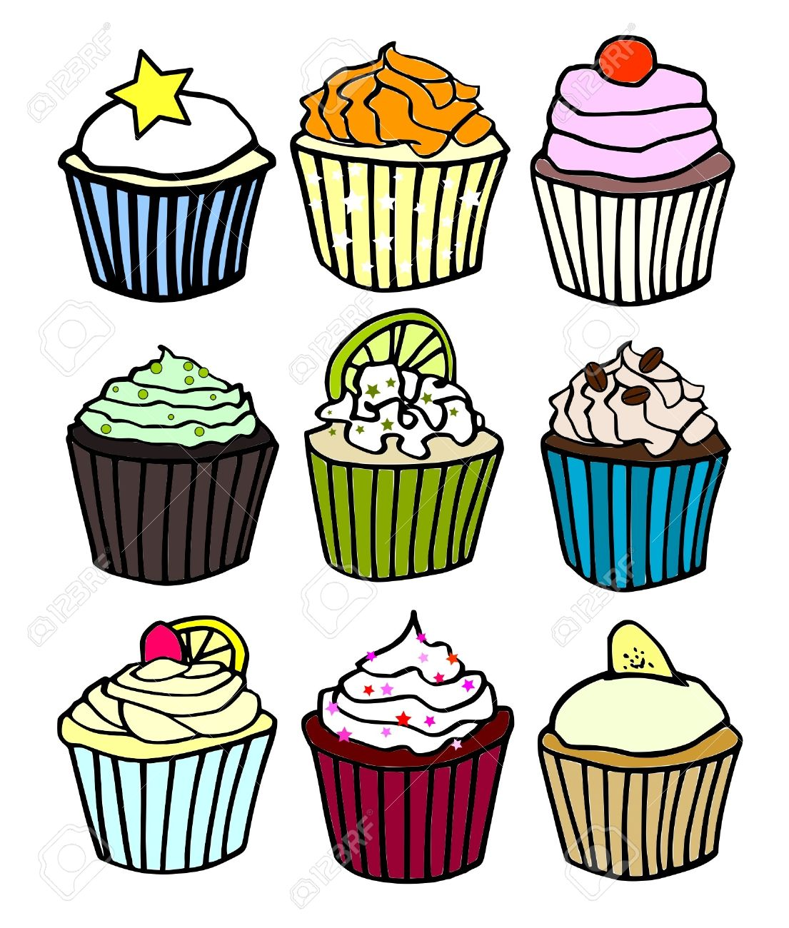 Nine Cupcake Flavors Royalty Free Cliparts, Vectors, And Stock.