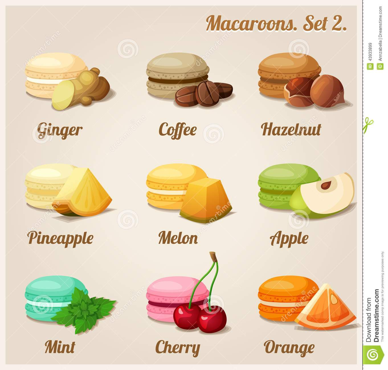 Macaron Different Flavor Stock Illustrations.