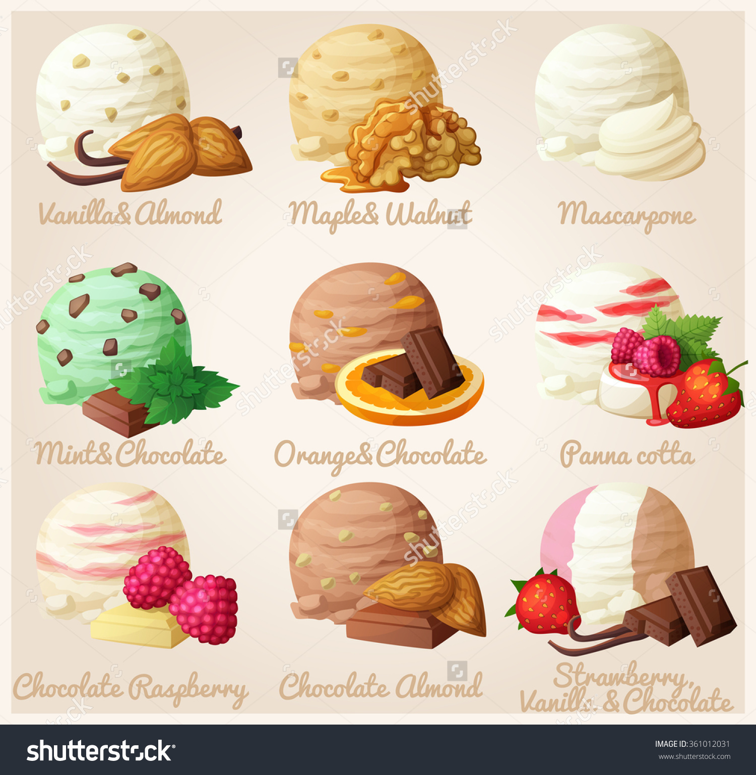 Set Cartoon Vector Icons Ice Cream Stock Vector 361012031.