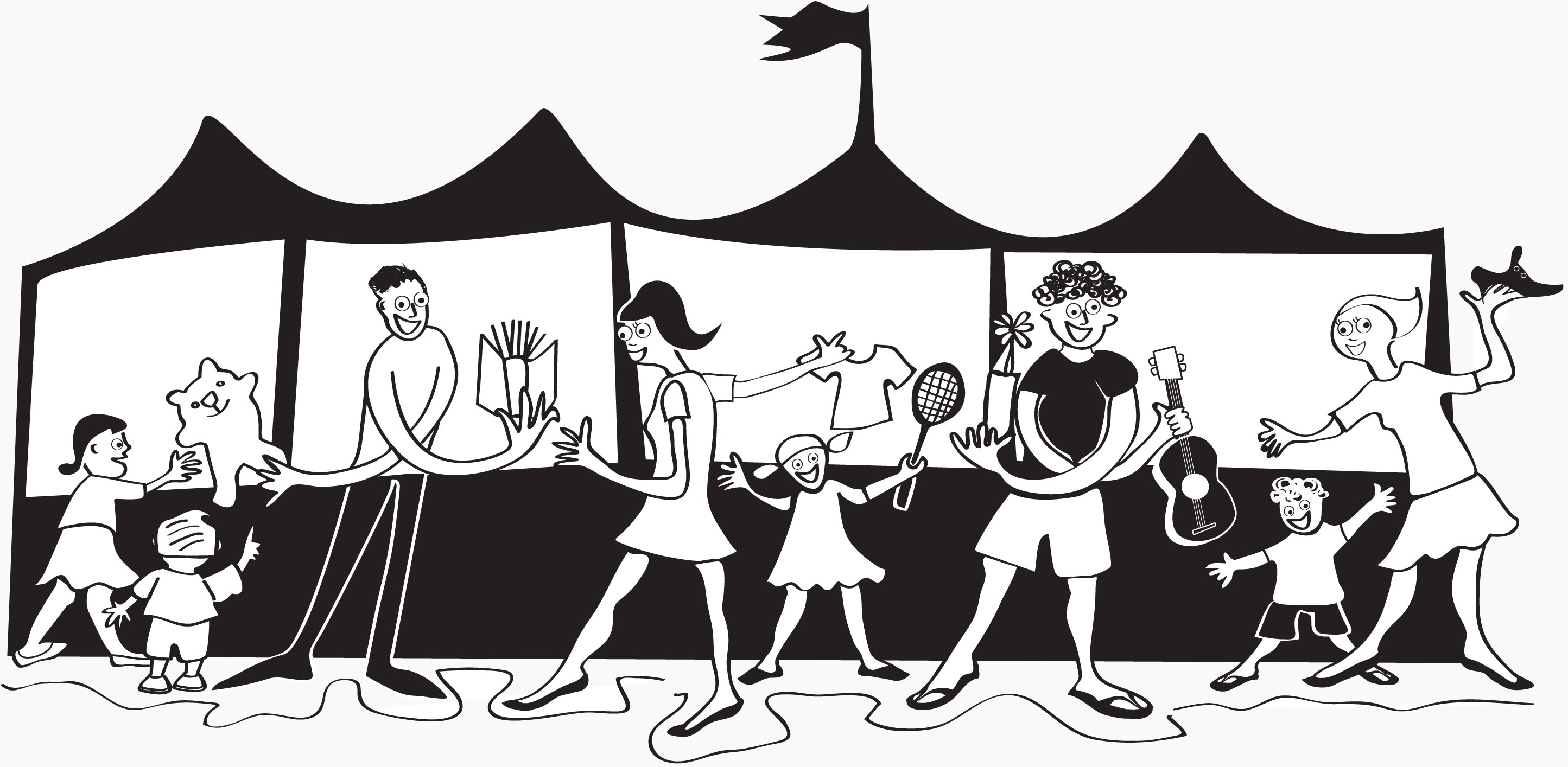 Flea market clipart black and white.