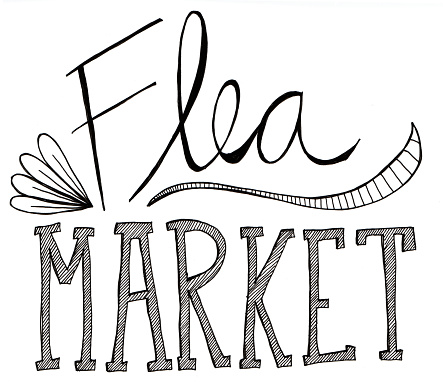 Flea Market Clip Art, Vector Image Illustrations.