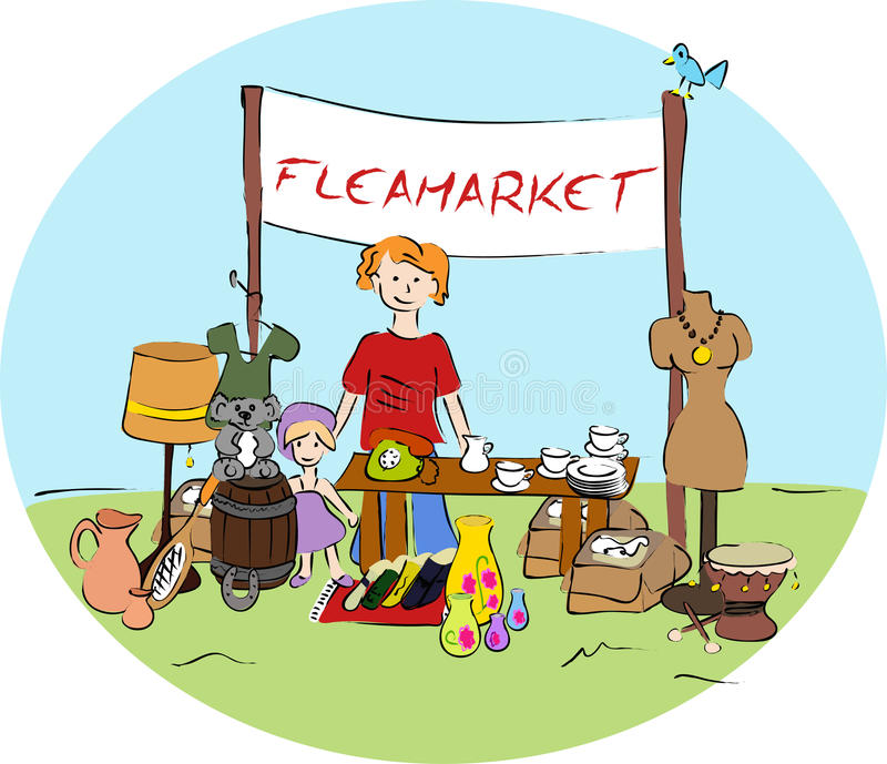 Flea Market Stock Illustrations.