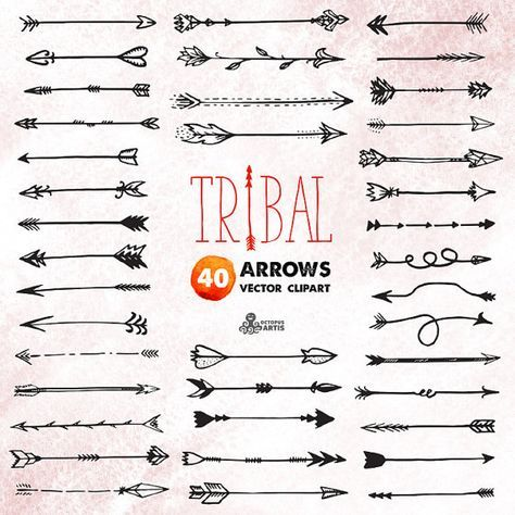 Tribal Arrows Clipart: 40 vector digital files. Hand drawn.