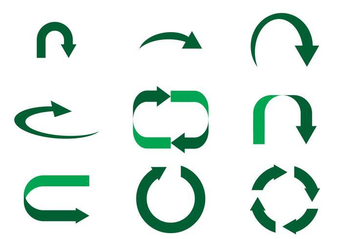 Simple Green Flechas Vector.