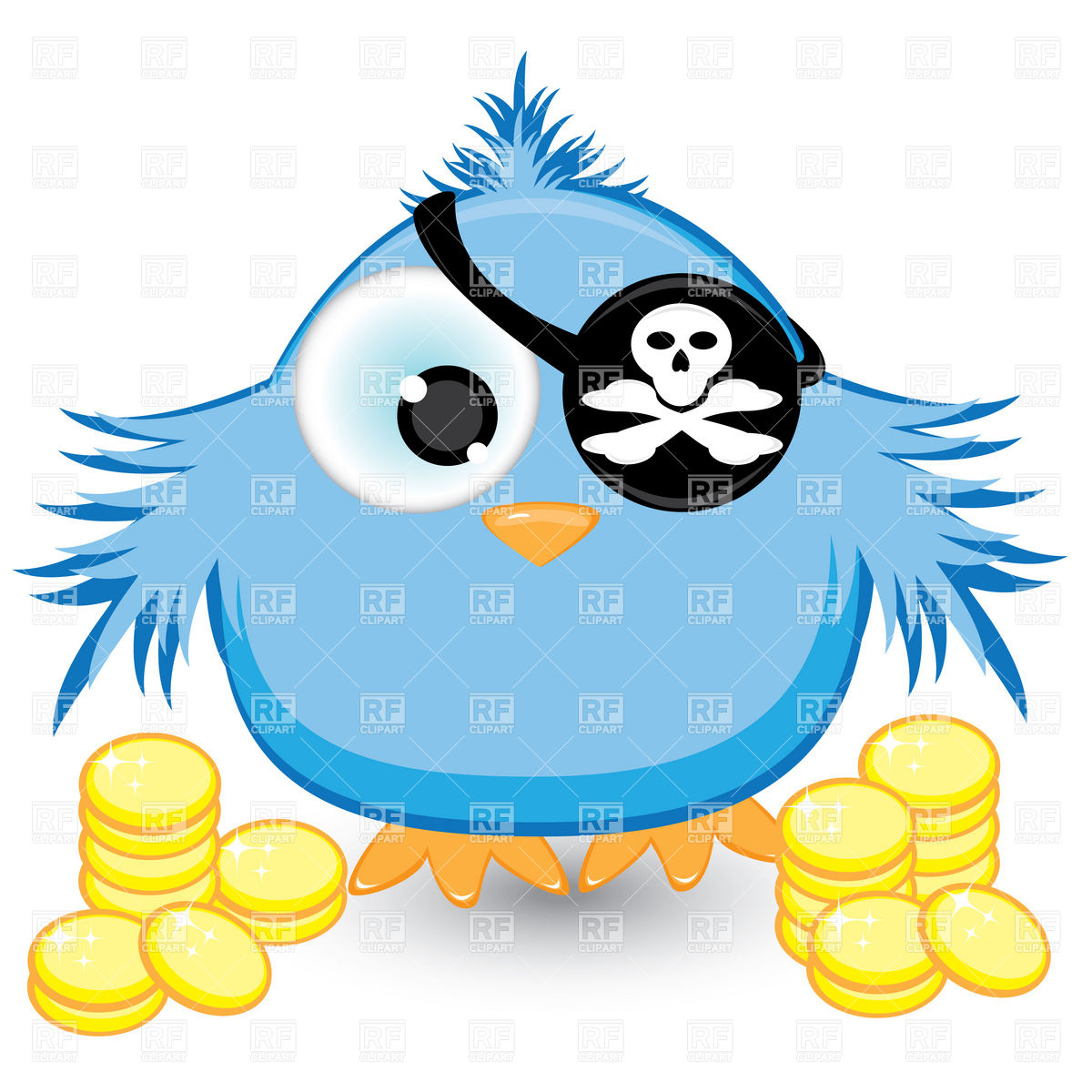 Cartoon fledgling with pirate blindfold Vector Image #8328.